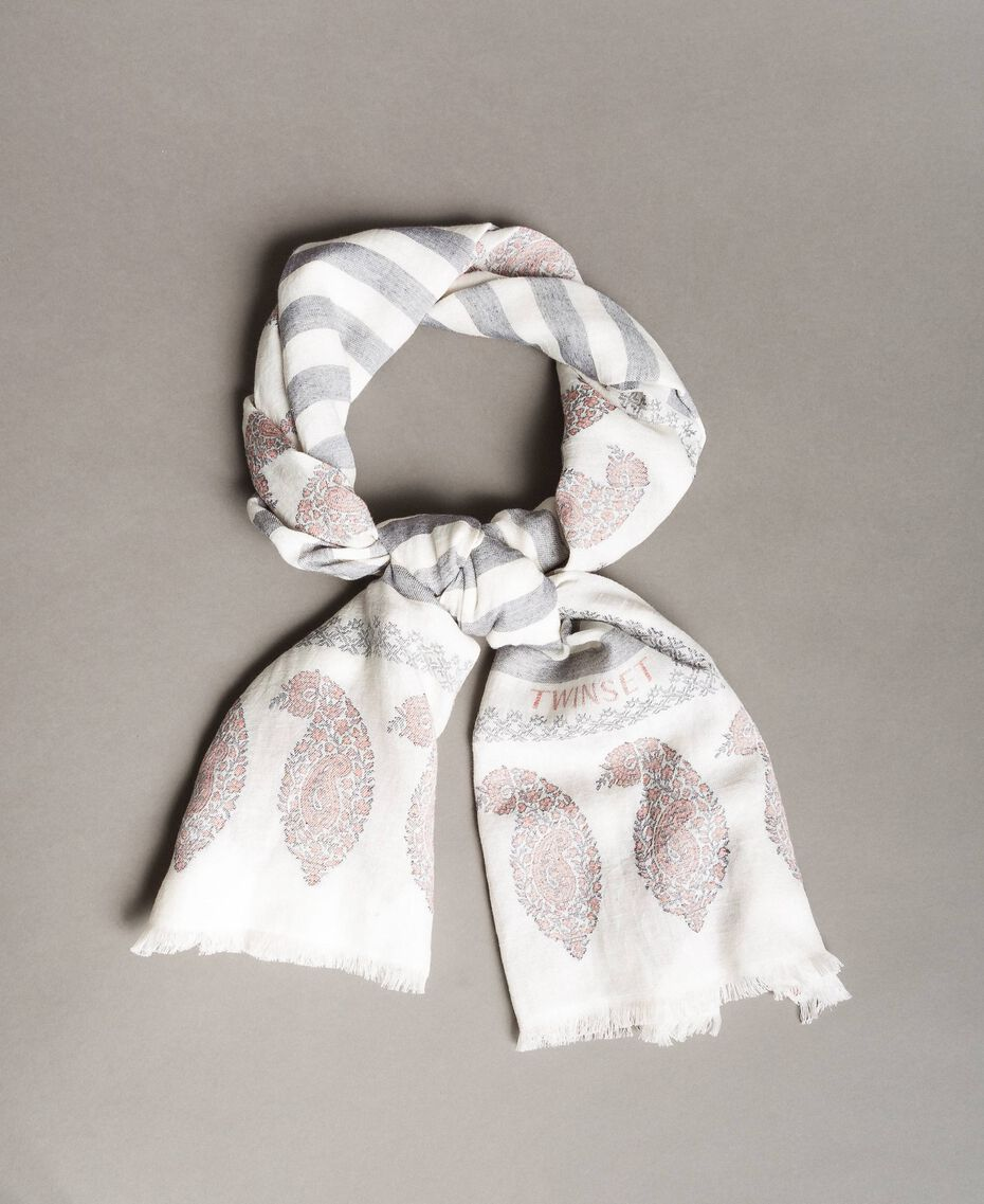 "Cotton and linen keffiyeh Black / ""Snow"" White Jacquard Woman 191TO5301-01"