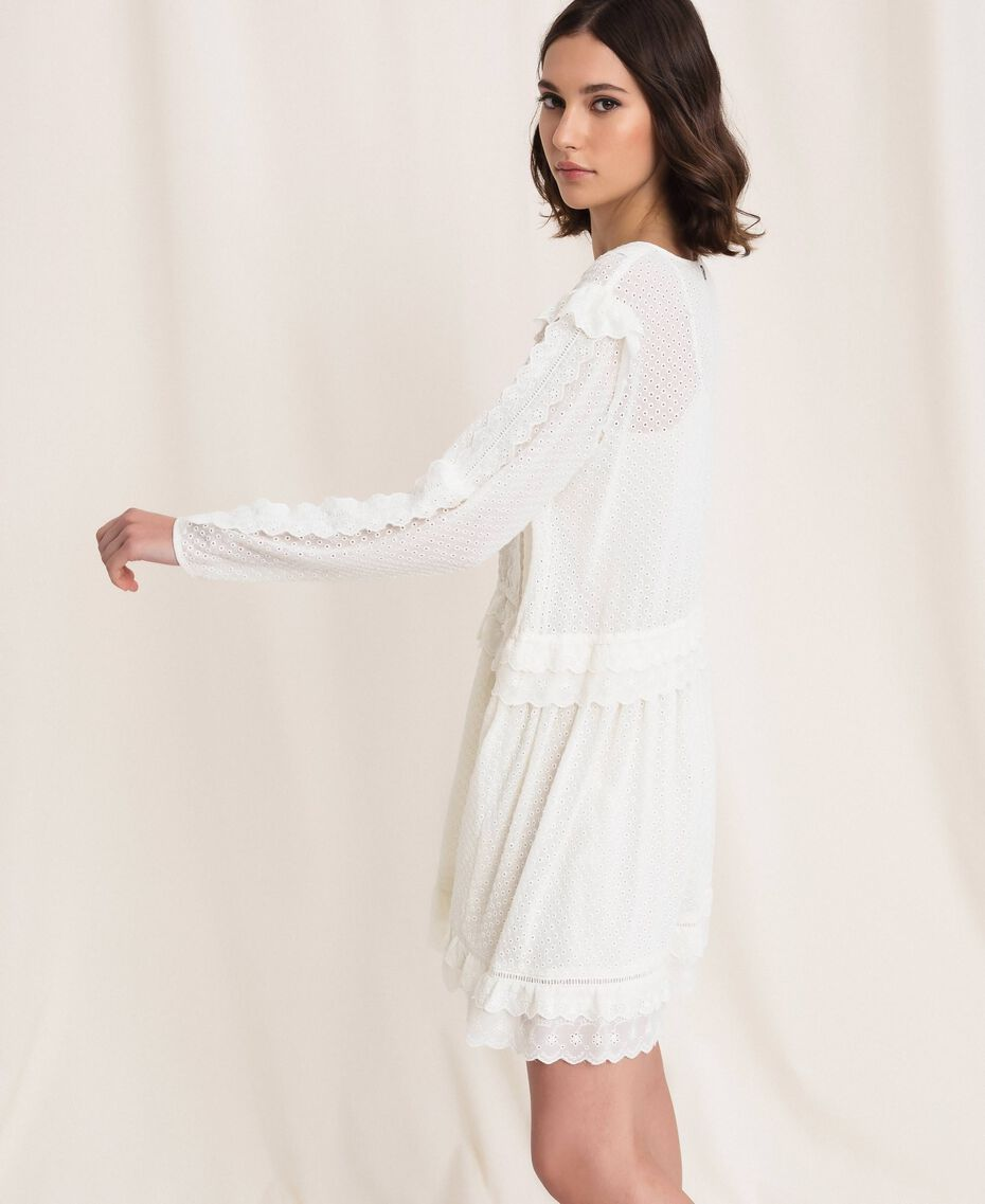 Robe en broderie anglaise avec cordon coulissant Blanc Neige Femme 201TP2496-02