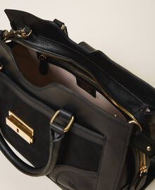Smooth leather and suede shopper Black Woman 202TB7283-05
