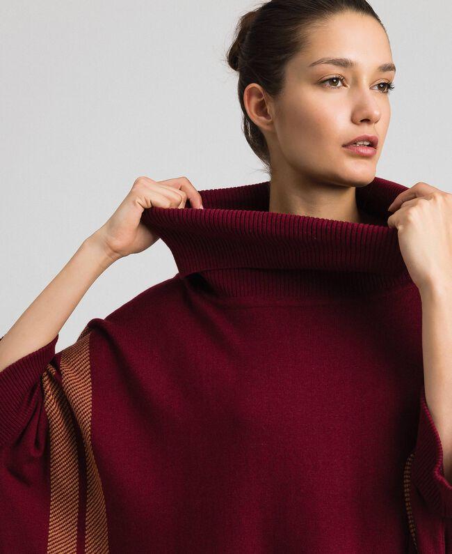 """Reversible knit poncho Purple Red / """"Camel Skin"""" Beige Woman 192LI3ZAA-04"""