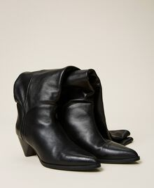 Bottes cuissardes en cuir avec talon conique Noir Femme 212TCT110-03