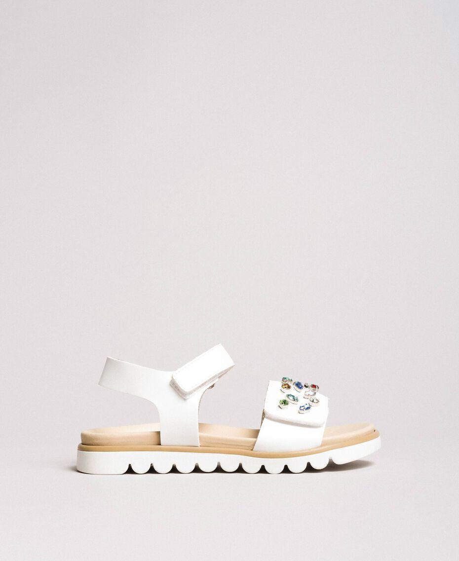 Sandals with multicolour rhinestones White Child 191GCJ150-03