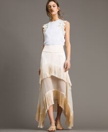 """Long satin skirt with flounces and fringes """"Milkway"""" Beige Woman 191LM2BCC-01"""