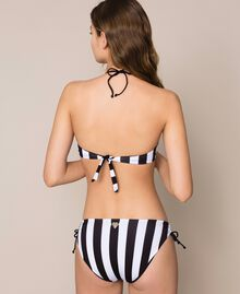 Striped bikini bottom with drawstring and laces Two-tone Black / Optical White Woman 201LMMF99-03