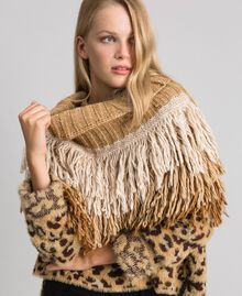 Cape collar with fringes Camel Woman 192TO5386-0S