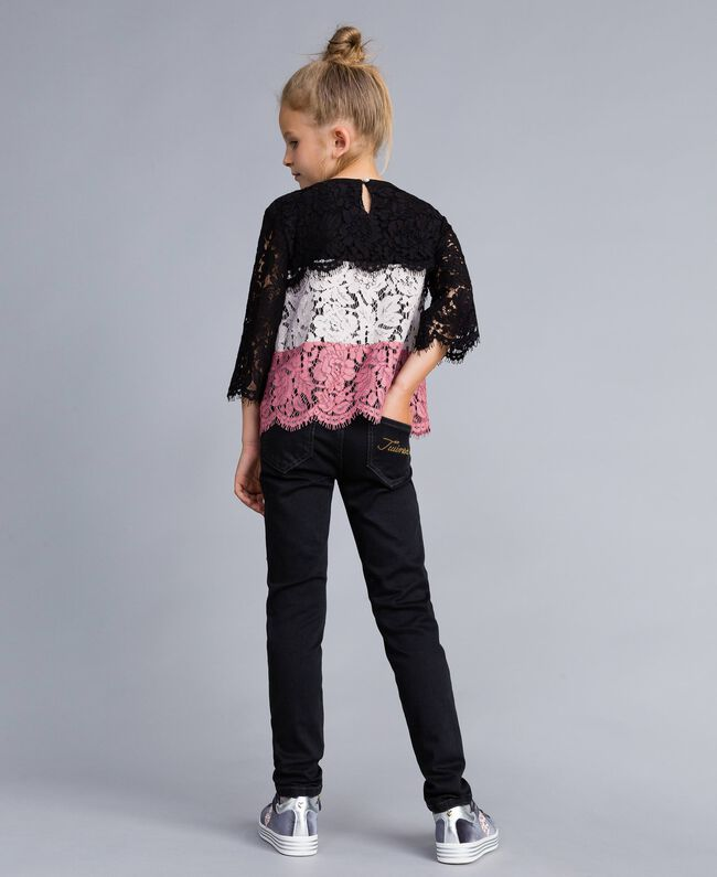 "Multi-coloured lace blouse Multicolour ""Blush"" Pink / Black / Roses Child GA82QA-03"