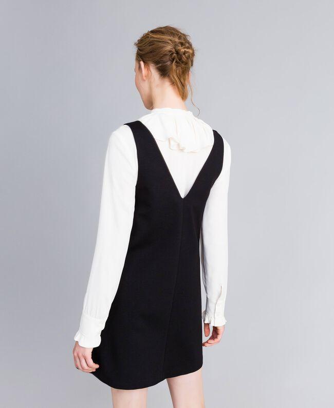 Ärmelloses Kleid mit Bluse aus Seidenmischung Zweifarbig Schwarz / Schneeweiß Frau PA8211-03