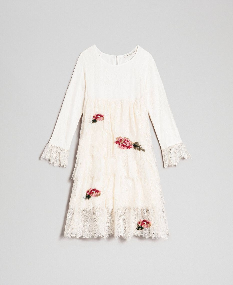 Chantilly lace dress with embroidered roses Pale Cream Child 192GJ2670-0S