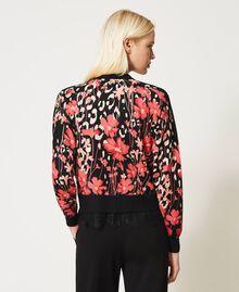 Jersey boxy de flores con encaje Estampado Animal Flowers Negro / Rojo «Cerise» Mujer 202TP3504-04
