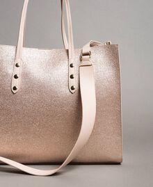 Shopper aus beschichtetem Lederimitat Roségold Frau 191TA7240-03