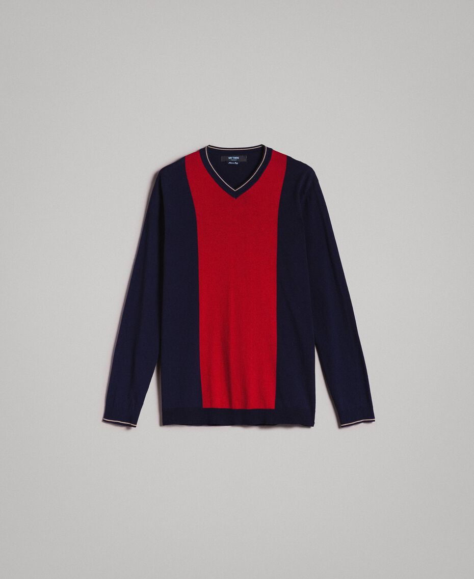 "Crêpe cotton jumper with inlay pattern Multicolour ""Blackout"" Blue / ""Dark Raspberry"" Red / Beige Porcelain Man 191UT3020-0S"