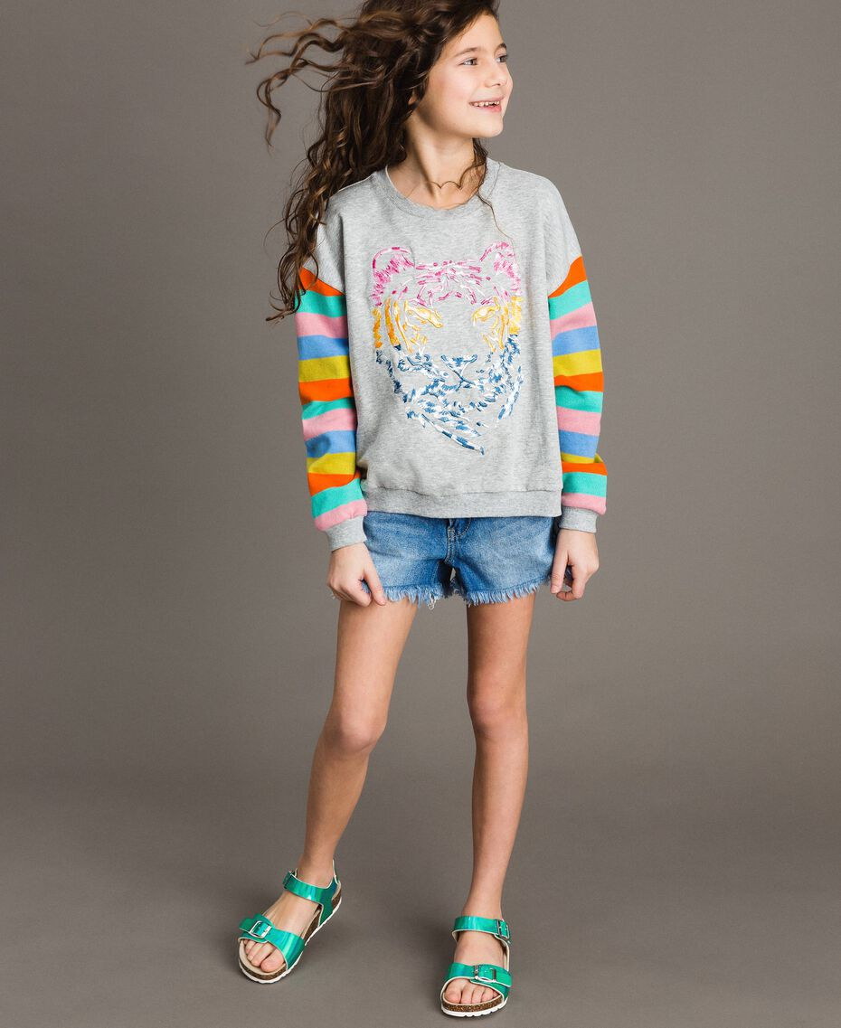 Cotton knitted striped sweatshirt Melange Grey / Multicolour Striping Child 191GJ2451-0S