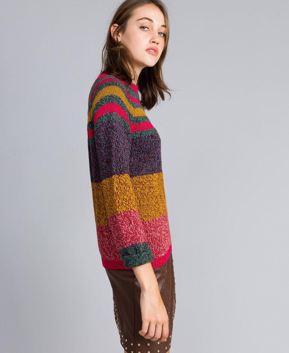 Mouliné colour block jumper Multicolour Mouliné Woman YA831B-02