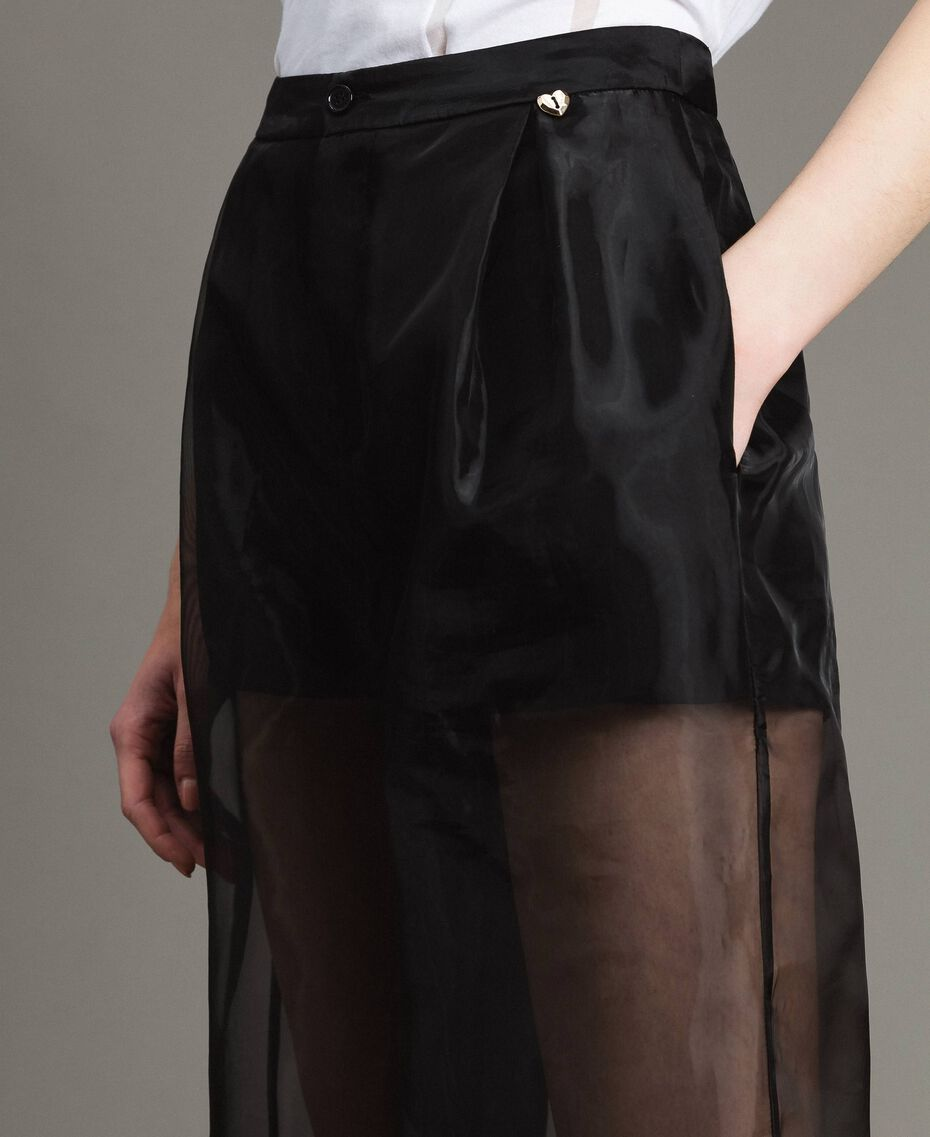 Pantalon palazzo en organza Noir Femme 191MT2132-02