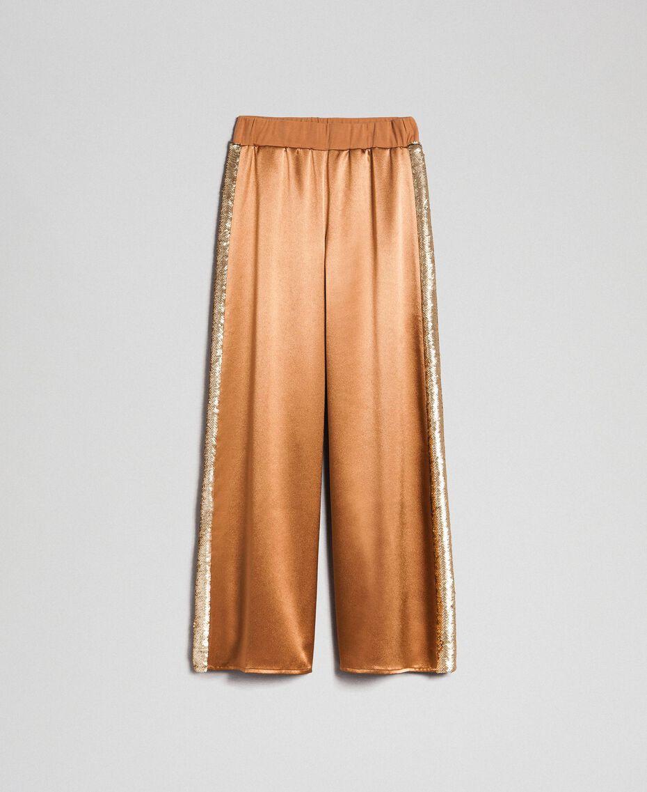"""Атласные брюки-палаццо с пайетками Бежевый """"Верблюжий мех"""" женщина 192LI2RBB-0S"""
