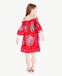 Kleid mit Blumenprint Blumenprint / Granatapfelrot Kind GS82E1-04