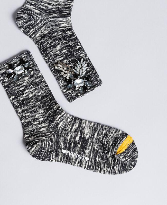 "Mélange rhinestone socks Black / ""Snow"" White Jacquard Woman OA8T3F-01"