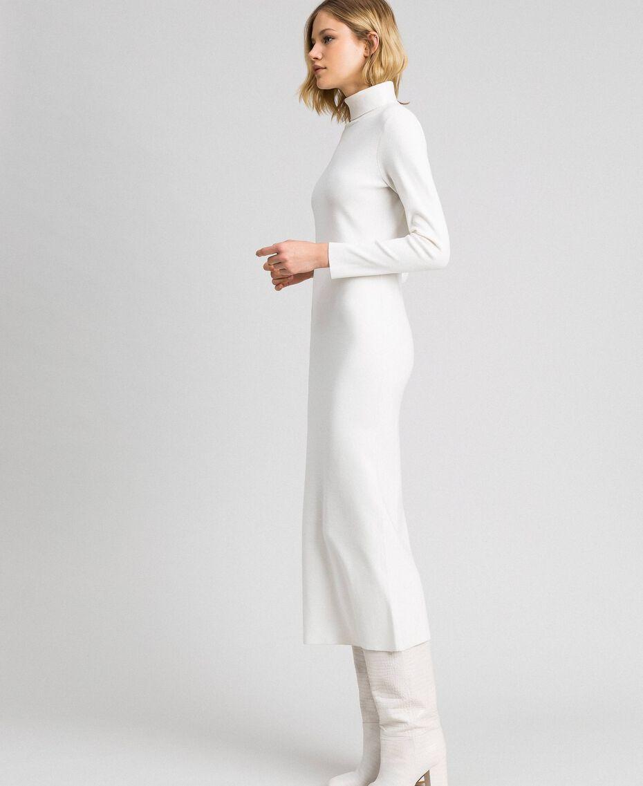 Robe longue en maille Blanc Vanille Femme 192MT3014-02