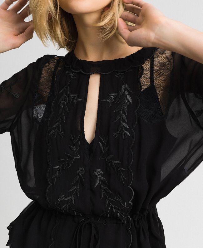 Blusa in georgette con ricami Nero Donna 192TP2341-04