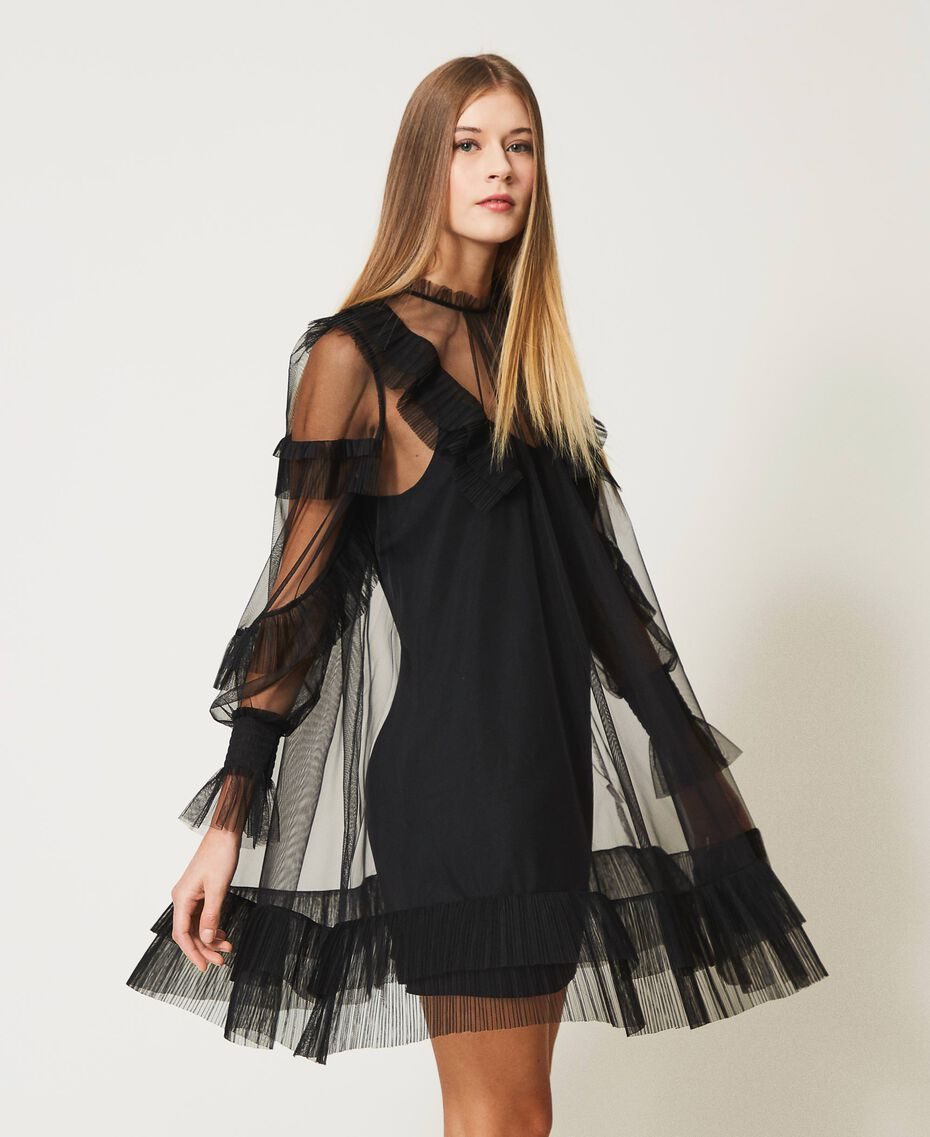 Tulle dress with pleated flounces Black Woman 211TQ2047-02