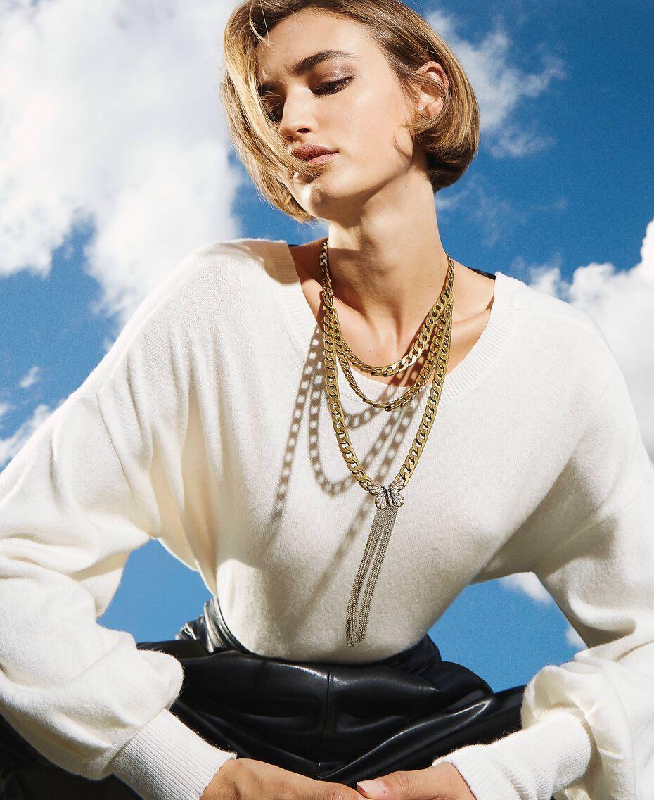 Collier en chaîne avec papillon et perles Or «Laiton Vieilli Cuivré» Femme 202TA4305-0S