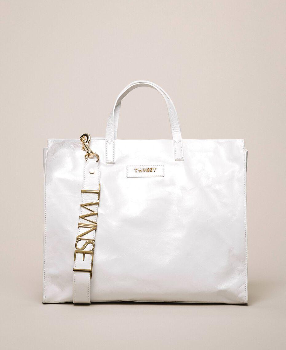 Borsa shopper in pelle con logo Bianco Neve Donna 201TA7090-01