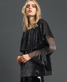 Blouse en tulle crépon métallique Noir / Argent Femme 192MT2142-02