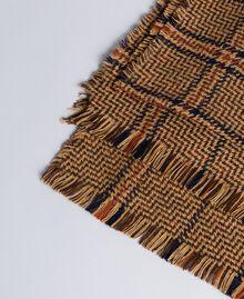 Écharpe jacquard tartan Bicolore Carreaux Beige Cookie/ Orange Brûlée Femme OA8T1Y-02