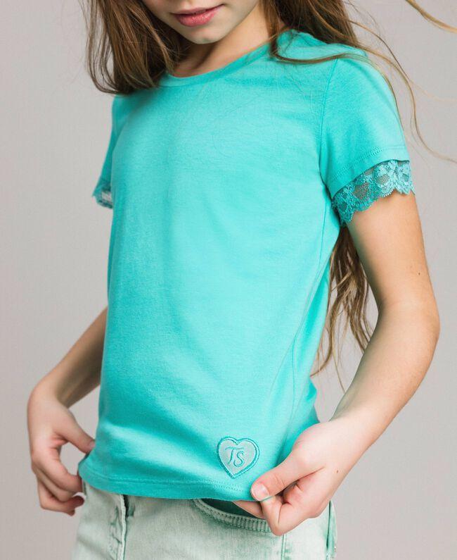 """T-shirt en jersey orné de dentelle Bleu Clair """"Île du Paradis"""" Enfant 191GJ2180-04"""