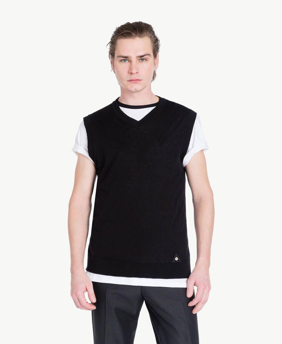 Gilet coton cachemire Noir Homme US831D-01
