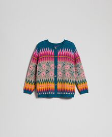Pull-cardigan jacquard multicolore Jacquard Multicolore Bleu « Lake » Femme 192MP3181-0S