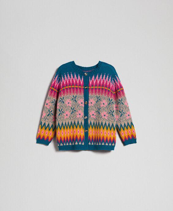 Pull-cardigan jacquard multicolore