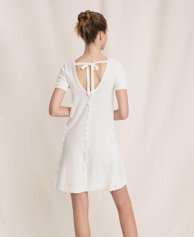 Dress with stitching and frills White Woman 201ST3066-03