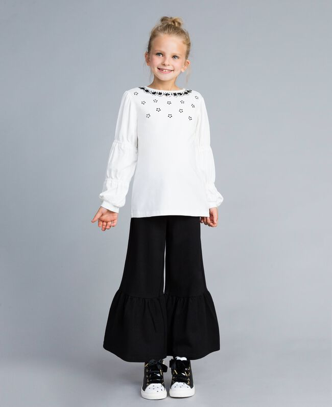 Flared Milan stitch trousers Black Child GA82F2-0T