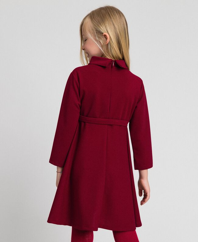 Crêpe dress with belt Ruby Wine Red Child 192GJ2452-03