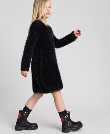 Fur effect knit dress Black Child 192GJ3062-02