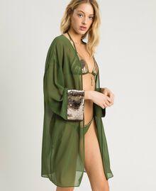 Kimono mit Pailletten Amazonas Grün Frau 191LM2CEE-02