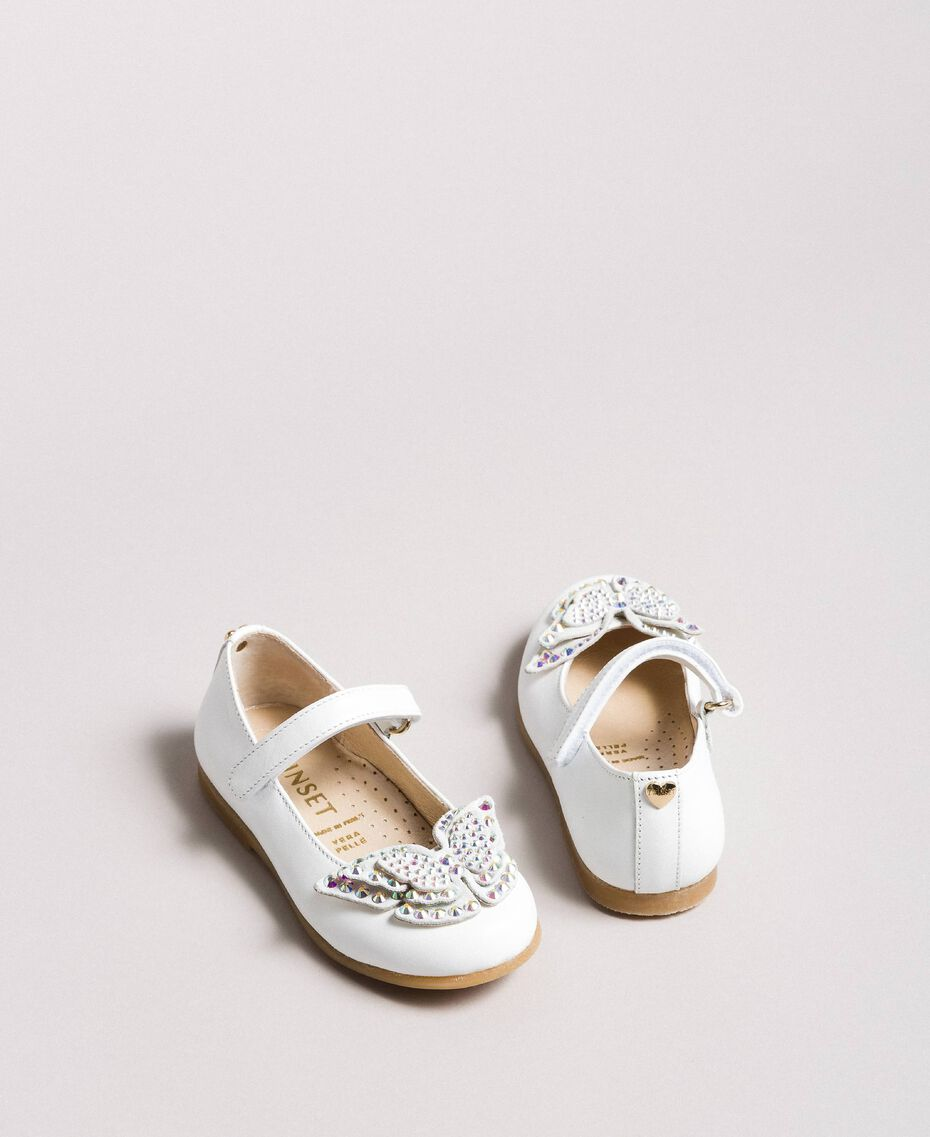 Leather ballerina shoes with butterfly White Child 191GCB130-0S