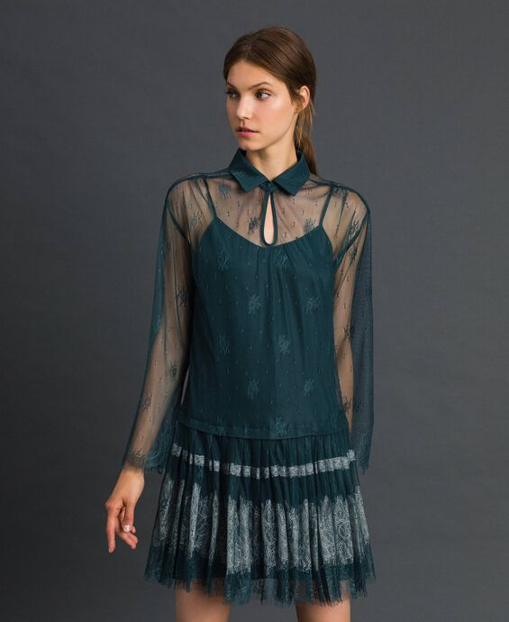 Chantilly lace dress with pleated hem