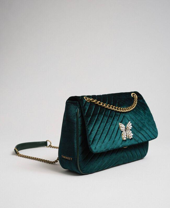 Quilted velvet shoulder bag Dark Green Woman 192TA7090-01