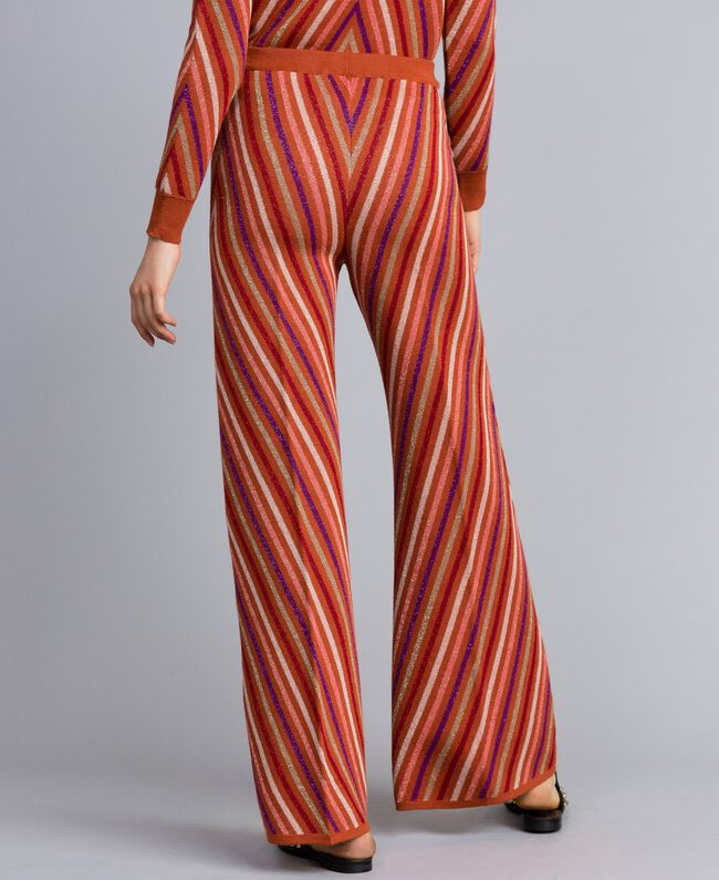 """Pantaloni jacquard a righe lurex multicolor Jacquard Riga Lurex Arancione """"Bruciato"""" Donna TA838A-03"""
