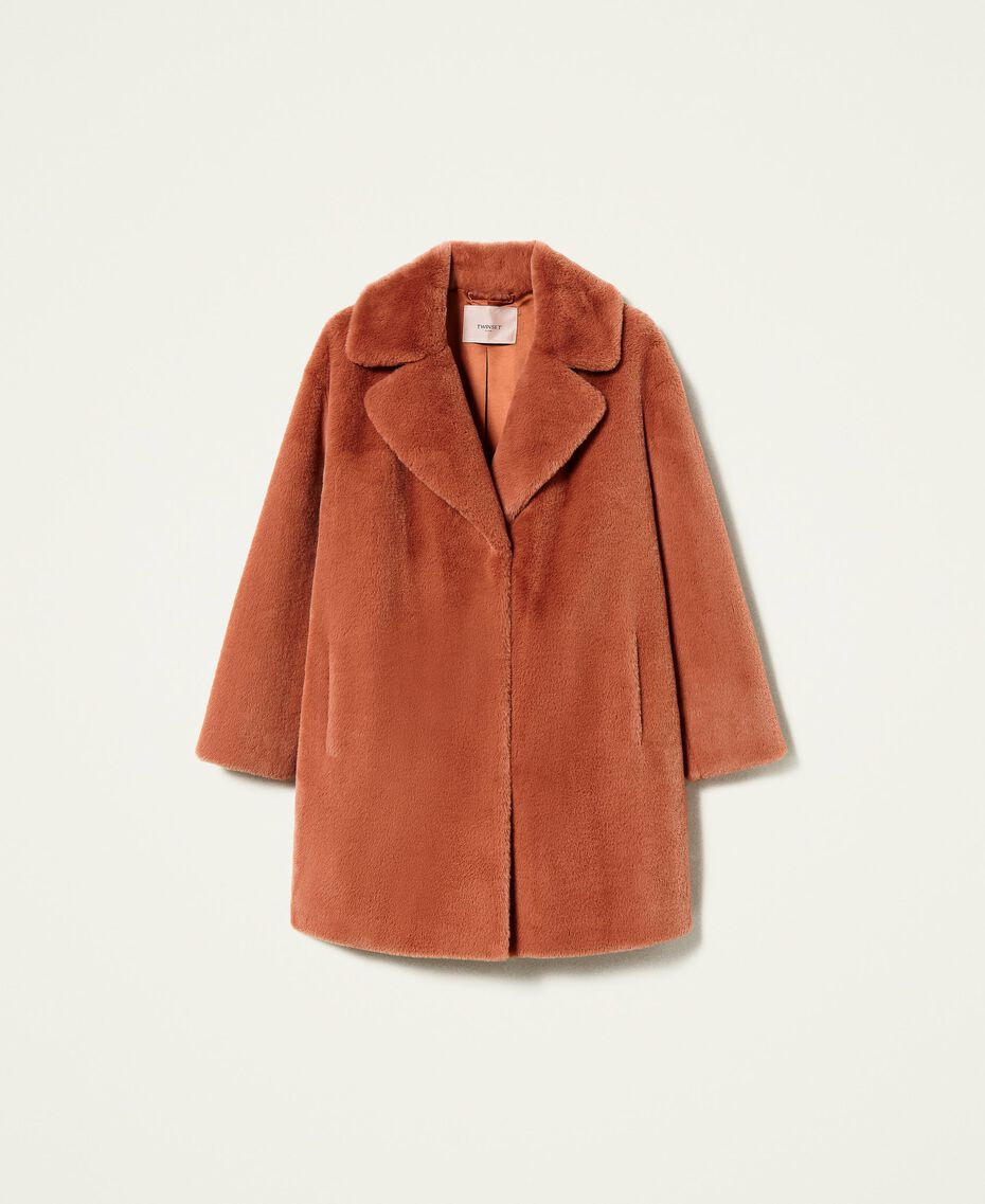 """Single breasted coat with pockets """"Tan Powder"""" Brown Woman 212TP2230-0S"""