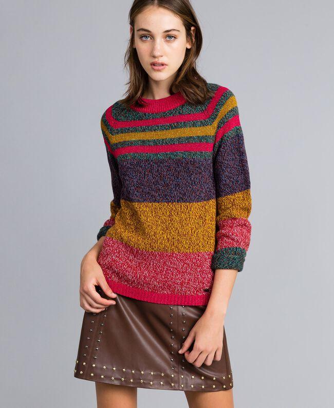 Pullover aus Moulinégarn in Color-Block-Verarbeitung Mehrfarbiger Mouliné Frau YA831B-04