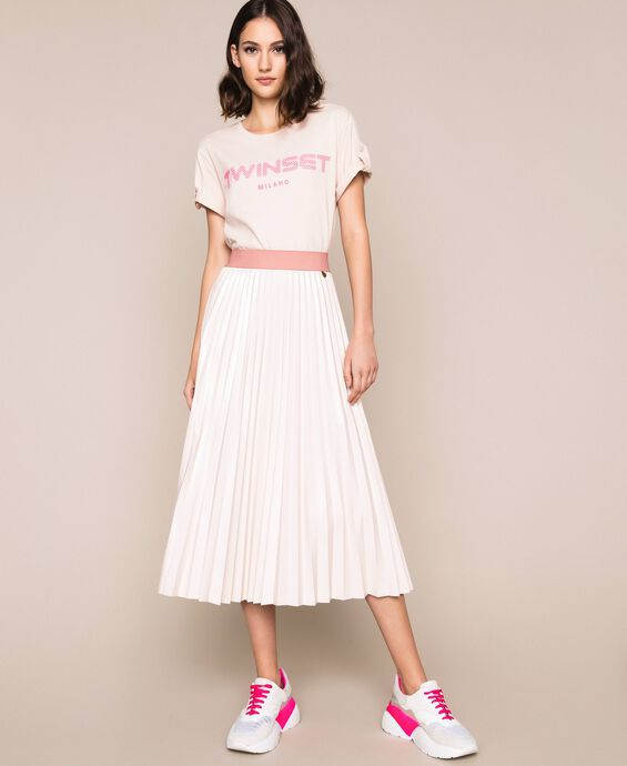 Glossy faux leather midi skirt