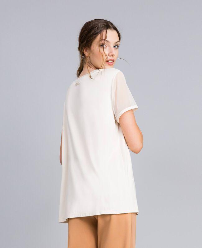 T-Shirt aus Jersey mit Stickerei Weiß Frau IA86KK-03
