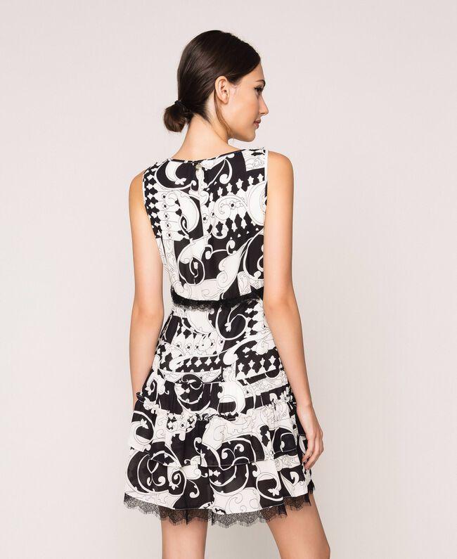 Мини-платье из набивного жоржета Принт Либерти Белый / Черный женщина 201ST213L-03