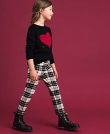"Wool blend chequered trousers ""Snow"" White Tartan Jacquard Child 192GJ2692-02"