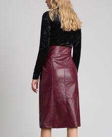 Jupe mi-longue en similicuir Rouge Velours Femme 192TT203B-03
