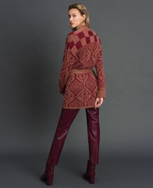 """Jacquard mohair and wool maxi cardigan """"Sequoia"""" Beige Jacquard / Red Earth Woman 192ST3130-03"""