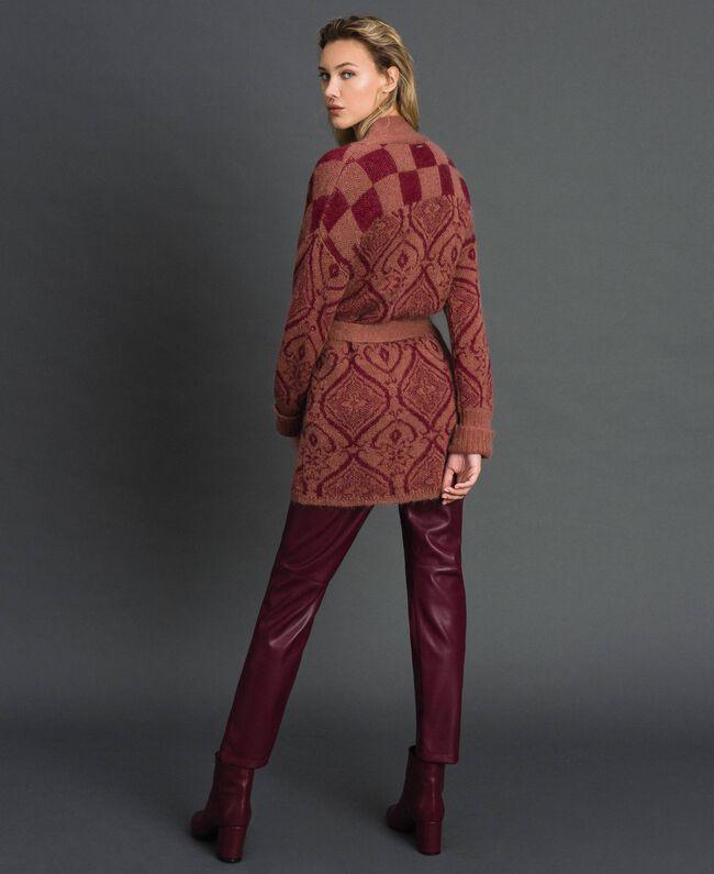 Maxi-Jacquardcardigan aus Wolle und Mohair Jacquard Sequoia-Beige / Rote Erde Frau 192ST3130-03
